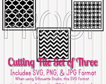 SVG Files Set of 3 -Framed Patterns-SVG PNG jpg all included-Commercial Use Cut Files Moroccan Cut File Chevron Cut File chevron svg