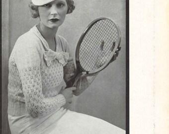 Marilyn Sweater • 1930s Sweater Jumper Top Blouse Pattern • Vintage Knitting Patterns • Retro Corticelli Digital PDF
