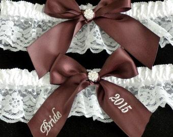 Personalized Garter, Eggplant Purple Garter, Embroidered Garter, Bridal Garter, Wedding Garter, Custom Garter, Garter Set, Keepsake Garter