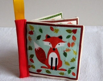 Baby cloth book in Woodland Animals design baby crinkle toy cloth book for baby woodland baby book soft toy crinkly cloth book buggy toy