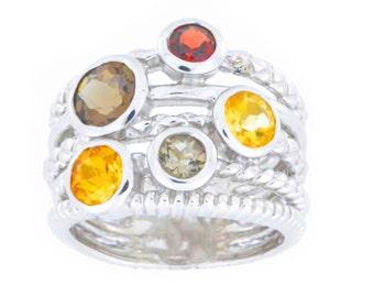 4 Ct Garnet Citrine & Smoky Quartz Bezel Ring .925 Sterling Silver