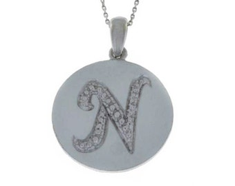 Letter N Pendant .925 Sterling Silver Rhodium Finish