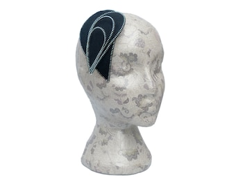 Black and Silver Zip and Felt Fascinator