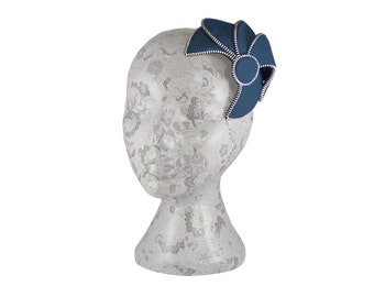 Navy blue & Silver Fascinator - Zip and Felt