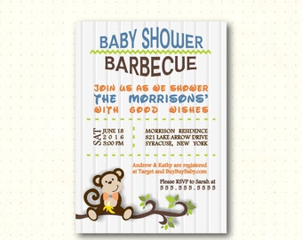 Baby Shower Barbecue, shower, boy, monkey, men's baby shower, bbq, dad's shower, couples baby shower, digital, printable invite B4081