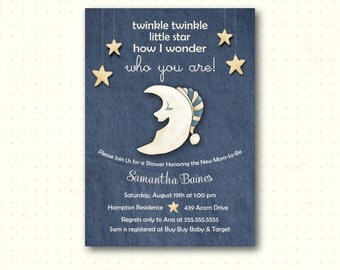 Twinkle Twinkle Baby Shower Invitation, Baby Sprinkle, Sip n See, Gender Reveal, Couples Baby Shower Invite, B52851