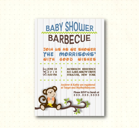 baby shower barbecue shower boy monkey men 39 s baby shower bbq dad
