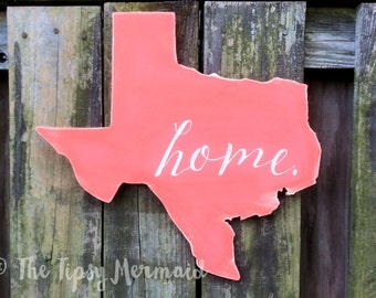 "Custom Made Aged Texas Shape ""Home"" Hand-Made Wooden Sign - Choose Your Color"