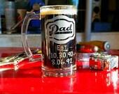 Fathers Day Gift - Fathers Day Mug - Dad Mug - Dad Est Glass - Childrens Birth Dates - Dad Gift, New Dad, Dad Beer Mug, Gift for Dad