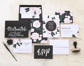 Aurora Wedding Invitation & Correspondence Set / Vintage Florals and Modern Accents / Sample Set