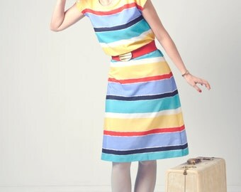 1980s bright rainbow striped day dress, quality vintage Sears sundress, spring and summer play dress in red, blue, yellow and teal stripes