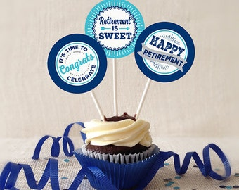 Retirement Cupcake Toppers, PRINTABLE, Navy and Turquoise, 2 or 2.25 Inch, Retirement Favor Tags