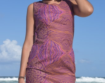 Sheath Dress- Aboriginal Art Print- Coconut String- Purple hues- 100% cotton