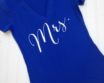 Mrs. Tee, Bride Tee, Wedding Bridal Shirt, Bachelorette Top, V-neck Tee, Wifey Tee, Bride Gift, Bridal Shower