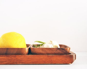 vintage set of three wooden bowls with matching tray
