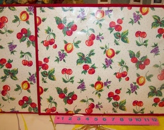 Nice pair of large vintage cherry and peaches fruit placemats