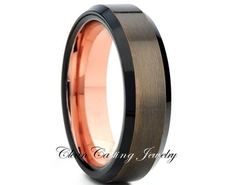 Rose Gold Gunmetal Tungsten Wedding Band,Tungsten Wedding Ring,Anniversary Ring,Engagement Band,Comfort Fit,18k Rose Gold Band,Beveled