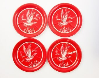 Four Red Coasters With Duck Graphics - Red - Sweaty Drinks - Cold Drinks - Great Barware