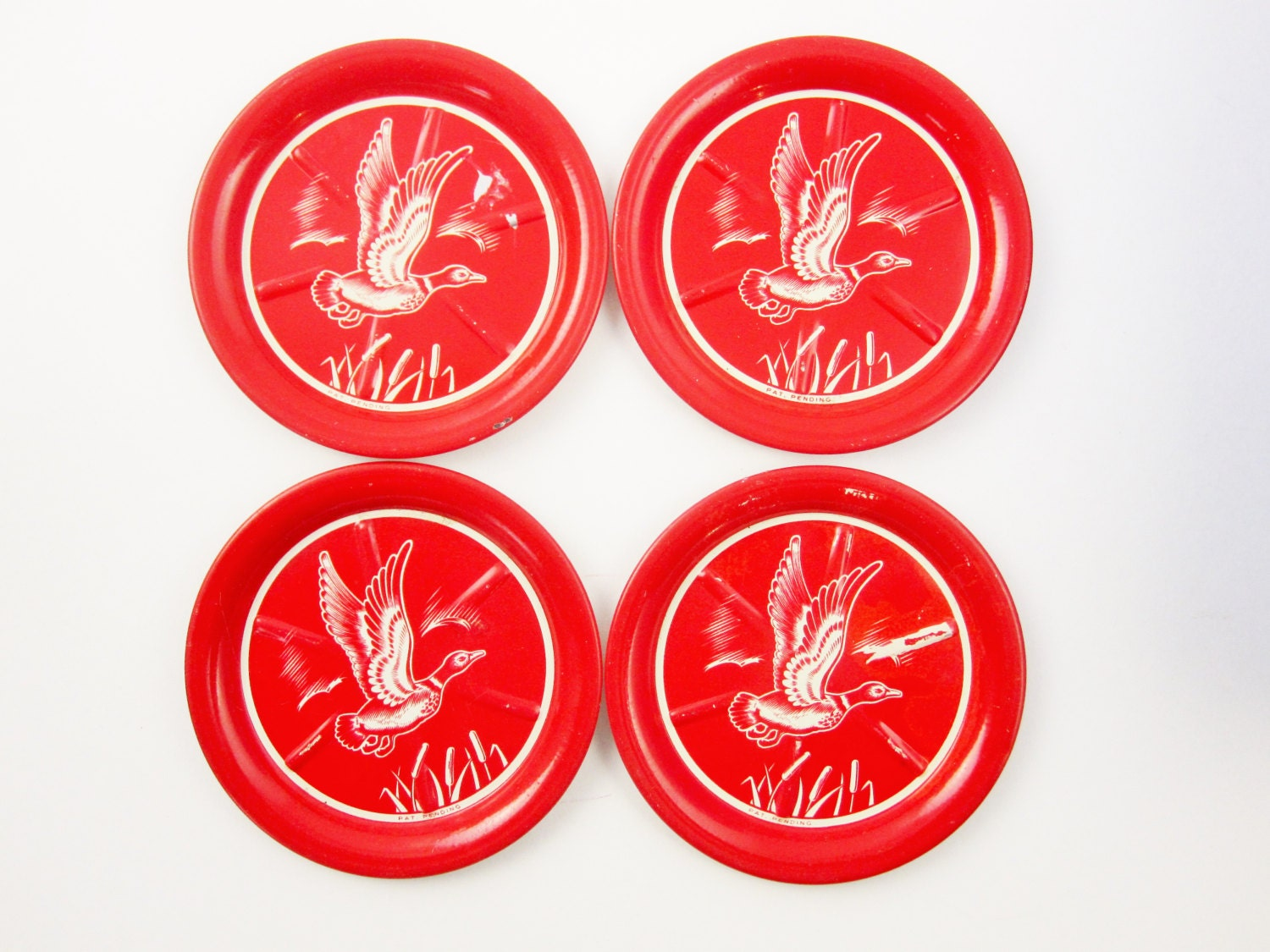 Four red coasters with duck graphics red sweaty drinks for Best coasters for sweaty drinks
