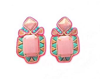 CHANTICO geo aztec pattern soutache earrings with FREE international shipping
