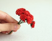 15mm Scarlet Red Paper Dahlia - 10 mulberry paper flowers with wire stems - Great for wedding favor & packaging [101]