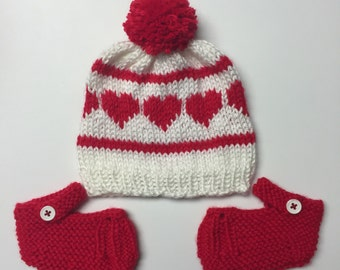 White Baby Hat with Red Hearts and Matching Pair of Red Mary Jane Baby Booties