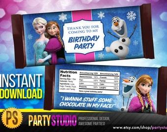 Disney Frozen Candy Bar Wrappers - Disney Frozen Candy Wrapper - Frozen Party Favor - instant download
