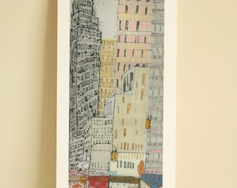EMPIRE STATE NYC, New York Art, Manhattan Taxi, Skyscraper Building, Limited Edition Giclee Print, Mixed Media Painting, Acrylic Pen Drawing