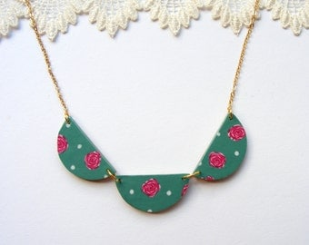 Pink English Rose and Mint scallop bunting necklace