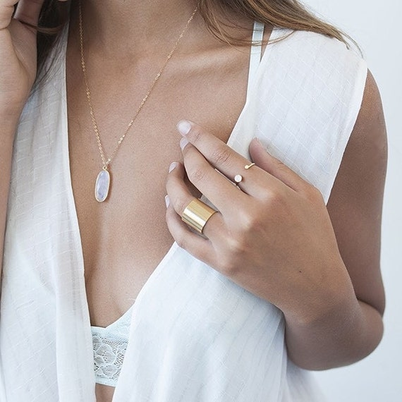 Moonstone Necklace, Gold Necklace, Gold Moonstone, Delicate Moonstone, Dainty Moonstone, Long Moonstone, 14k Gold Fill Necklace, Dainty Gold