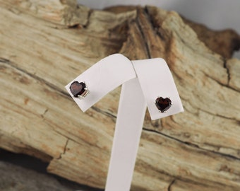 Sterling Silver Post Earrings - Natural Red Garnet Heart Earrings - 6mm Red Garnet Hearts on Sterling Silver Posts