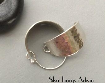 Sterling Silver Basket Hoop Earrings, Rustic Textured, Hand Forged Metal, Artisan Hoops, Handmade Contempory Jewelry, Dangle Earrings