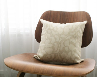 """16""""x16"""" Beige & White Floral Throw Pillow Cover"""