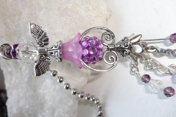 Purple Angel Ceiling Fan Pull Beaded Light Pull Ball Chain