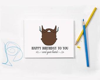 Funny Birthday Card, Beard Card, Birthday Card for Him, Birthday Card for Husband, Greeting Card