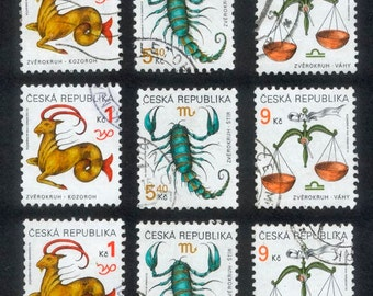 Czech Republic Zodiac Postage Stamps - Fabulous Images for Artist Trading Cards and Scrapbooking