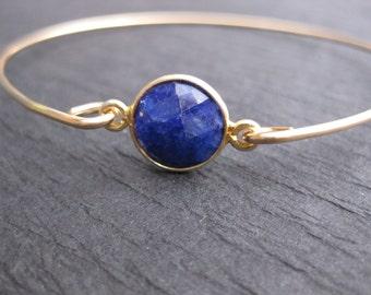 Genuine Blue Sapphire Gemstone on 14k Gold Bangle Band | Faceted Raw Sapphire Gemstone Jewelry | 14k Gold Bangle Bracelet | Something Blue