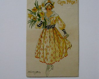 Adina Sand - Artist Signed Post Card - Glad Pask! - 1920's - Used