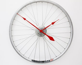 Bicycle Wheel Clock, Bicycle Clock, Unique Large Wall Clock - Unique Wall Decor - Gift for Cyclists - Bike Clock