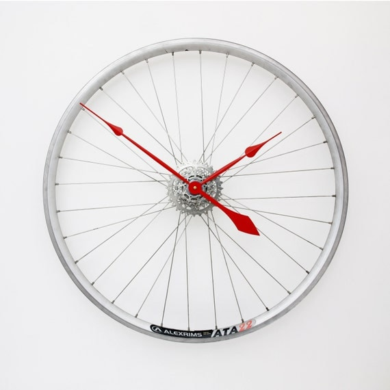 Bike Design Wall Clock : Bicycle wheel clock unique large wall