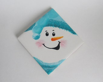 Snowman Coasters  - Set of 4, Hand-painted, Turquoise Hat & Scarf - Snowmen Decor