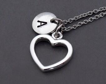 Heart necklace, open heart charm, Silver heart necklace, eternity heart charm, initial necklace, personalized, monogram