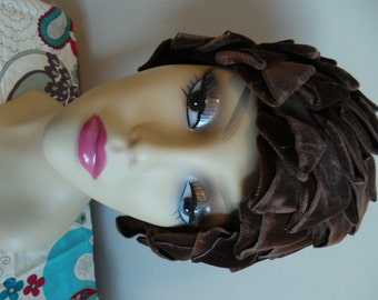 Vintage 1950's BROWN Velvet Triangles and CROCHET Lining Hat