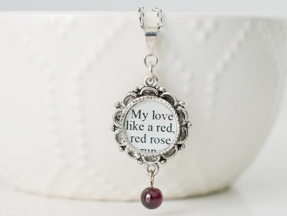Robert Burns Love Poem Necklace My Love Is By CSLiteraryJewelry