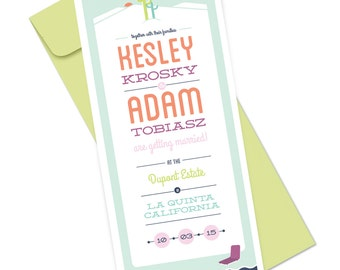 Palm Springs Wedding Invitation, Desert Wedding Invitation, Wedding Invite with Cactus