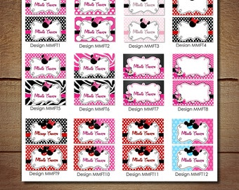 SET OF 12 CUSTOM Minnnie Mouse Food Tents, Minnie Mouse Placecards for Birthday Party or Baby Shower, Red Pink Zebra Chevron Black Blue