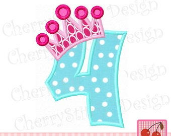 """Crown Number 4 Birthday number 4 embroidery applique design -4x4 5x5 6x6"""""""