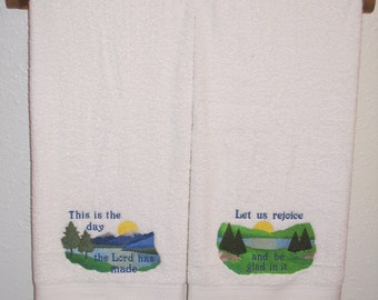 Psalm 118:24 Bible Verse Towel Set - Colorful Scenes with Scripture Bath Towels - For Wedding, Anniversary, Pastor, Friend, etc.