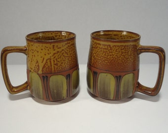 Vintage Retro Mugs Green Brown Speckled 1970s