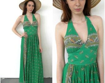 1970s printed green maxi dress